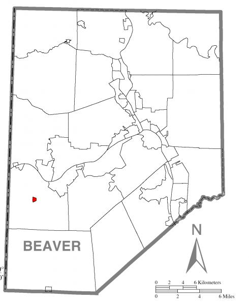 Map of Hookstown, Beaver County, Pennsylvania Highlighted