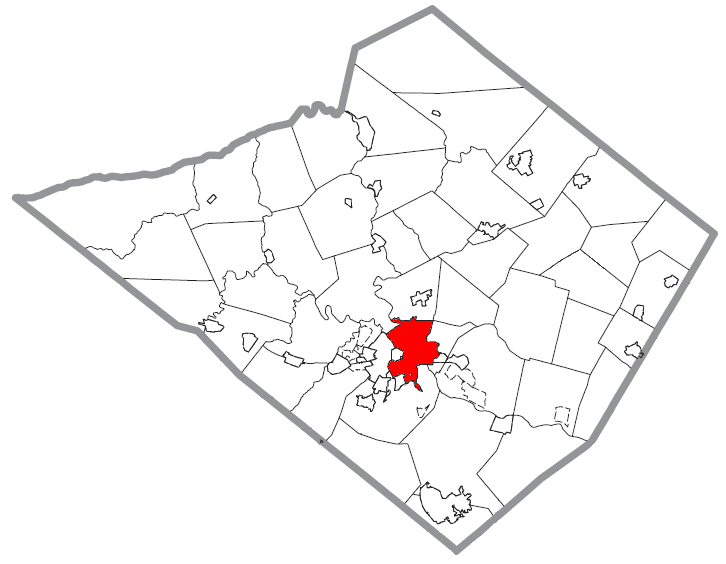 Map of Reading, Berks County, Pennsylvania Highlighted