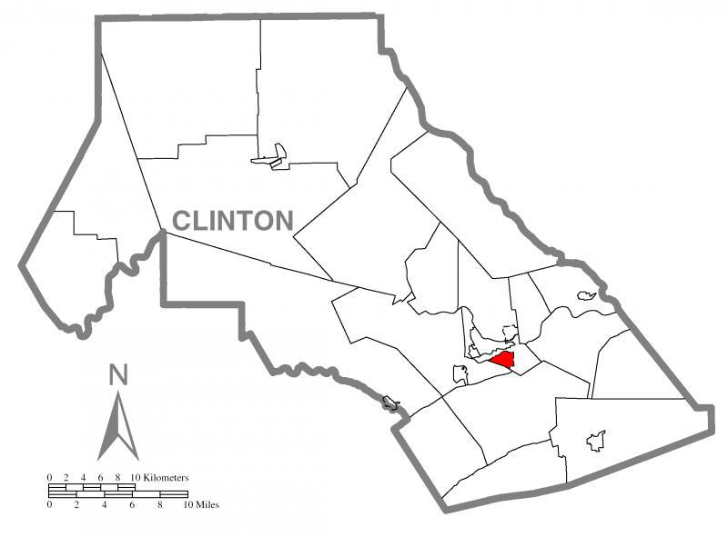 Map of Castanea, Clinton County, Pennsylvania Highlighted