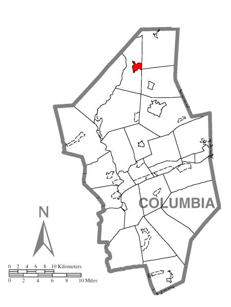 Map of Waller Township, Columbia County, Pennsylvania Highlighted