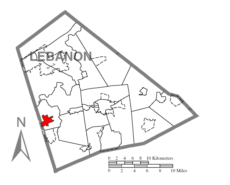 Map of Lebanon County with Palmyra higlighted
