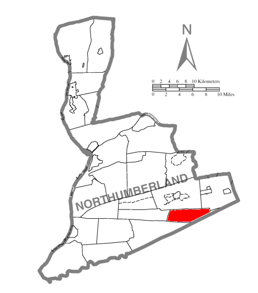Map of Northumberland County Pennsylvania Highlighting East Cameron Township