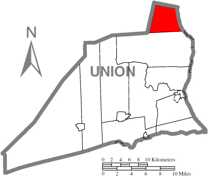 Map of Gregg Township, Union County, Pennsylvania Highlighted